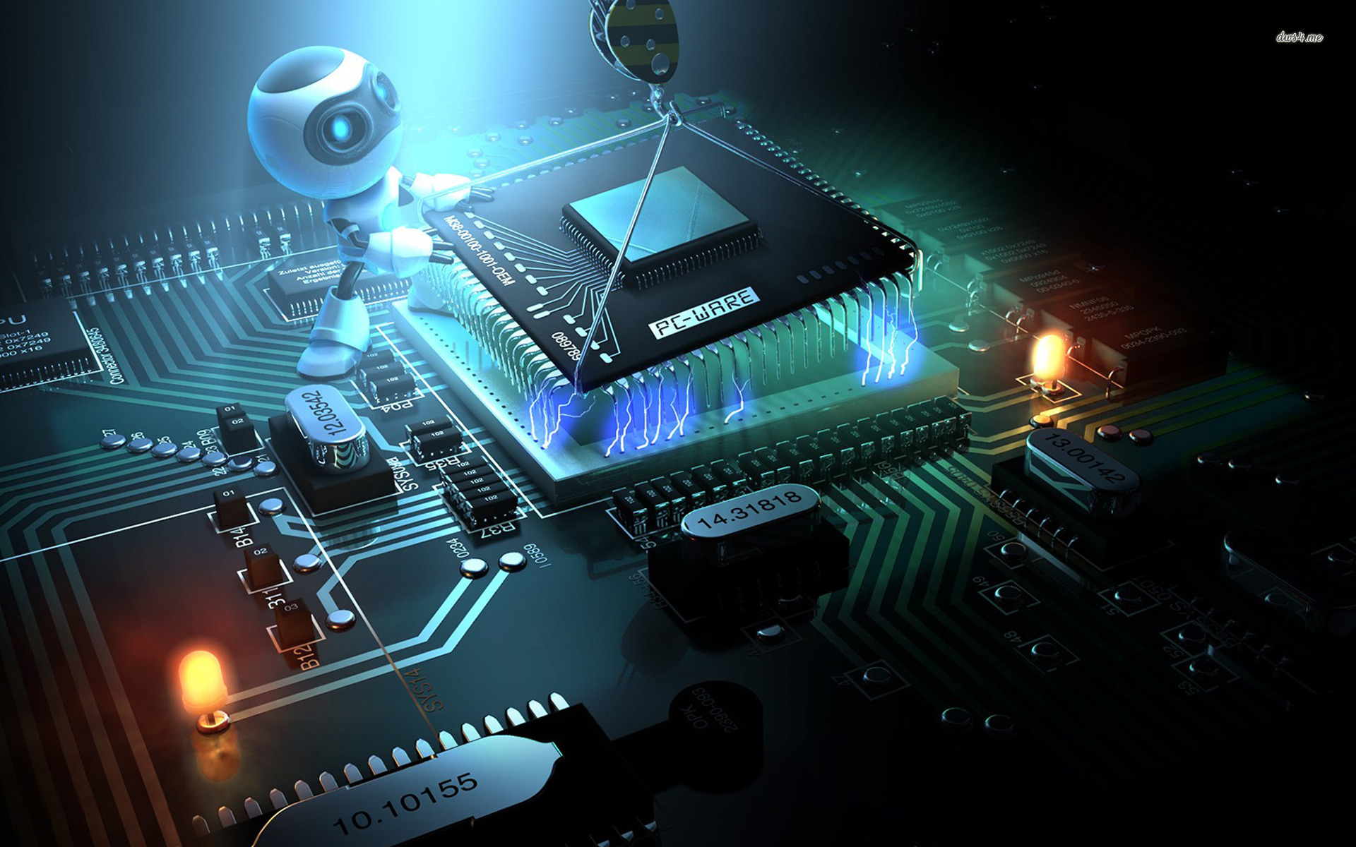 Download computer chip robot HD wallpaper 1920x1200