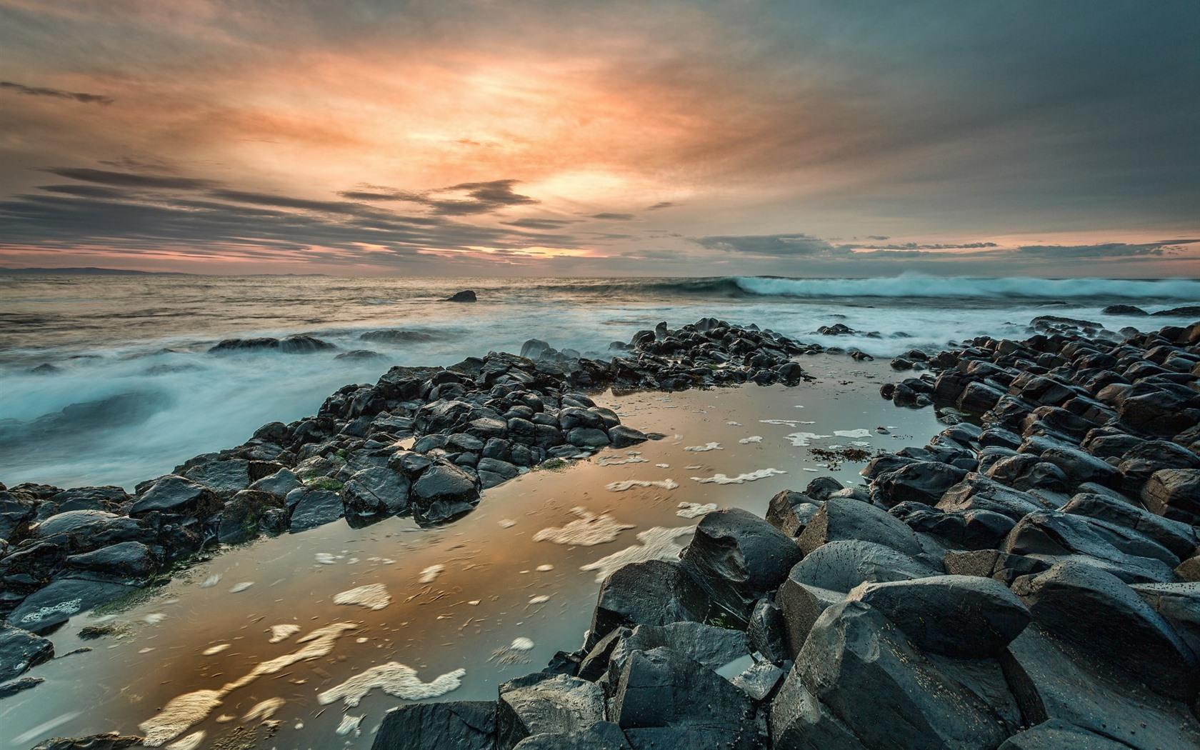 Wallpaper Northern Ireland Giants Causeway rocks sea sunset 1680x1050