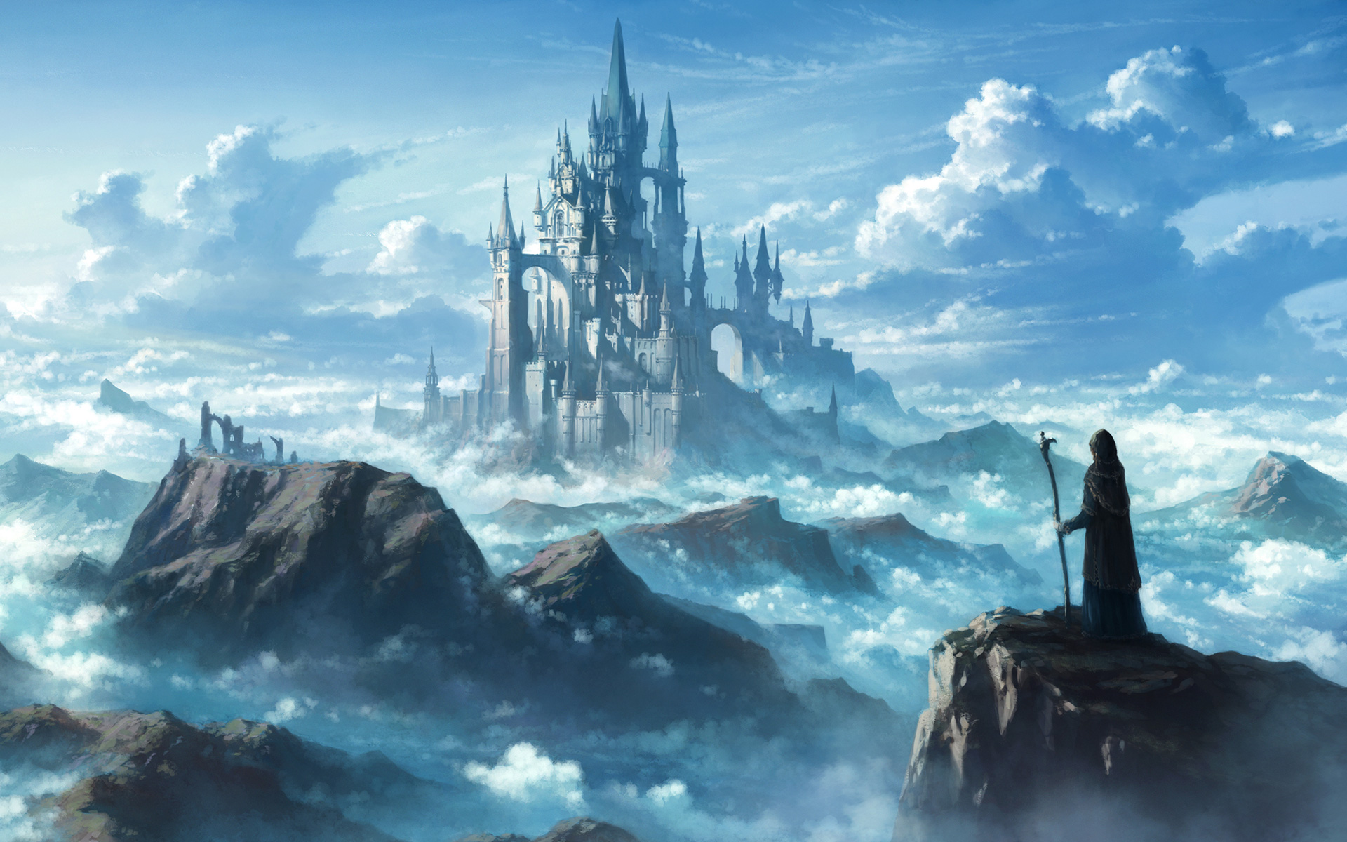 Fantasy Castle Mountains Clouds Art 2416 Wallpapers and 1920x1200