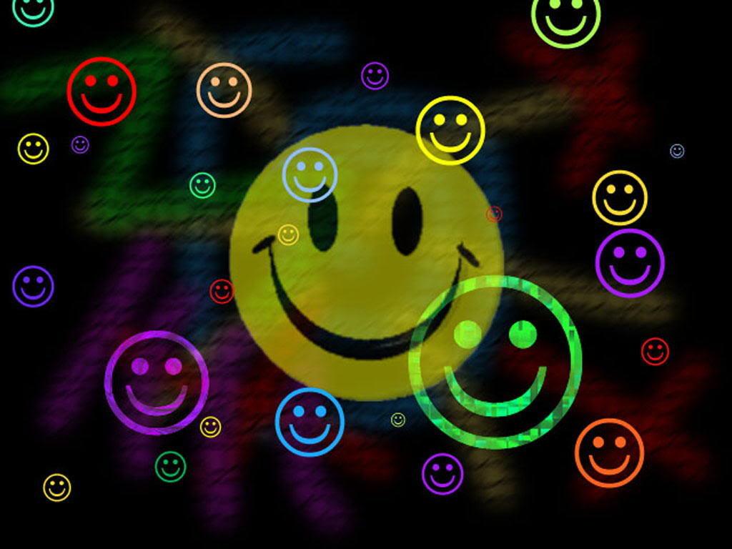 Neon Smiley Face HD Wallpaper 1024x768