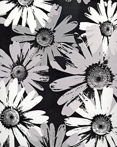Black and White Metallic Floral Wallpaper   Kids Wall Decor Store 400x500