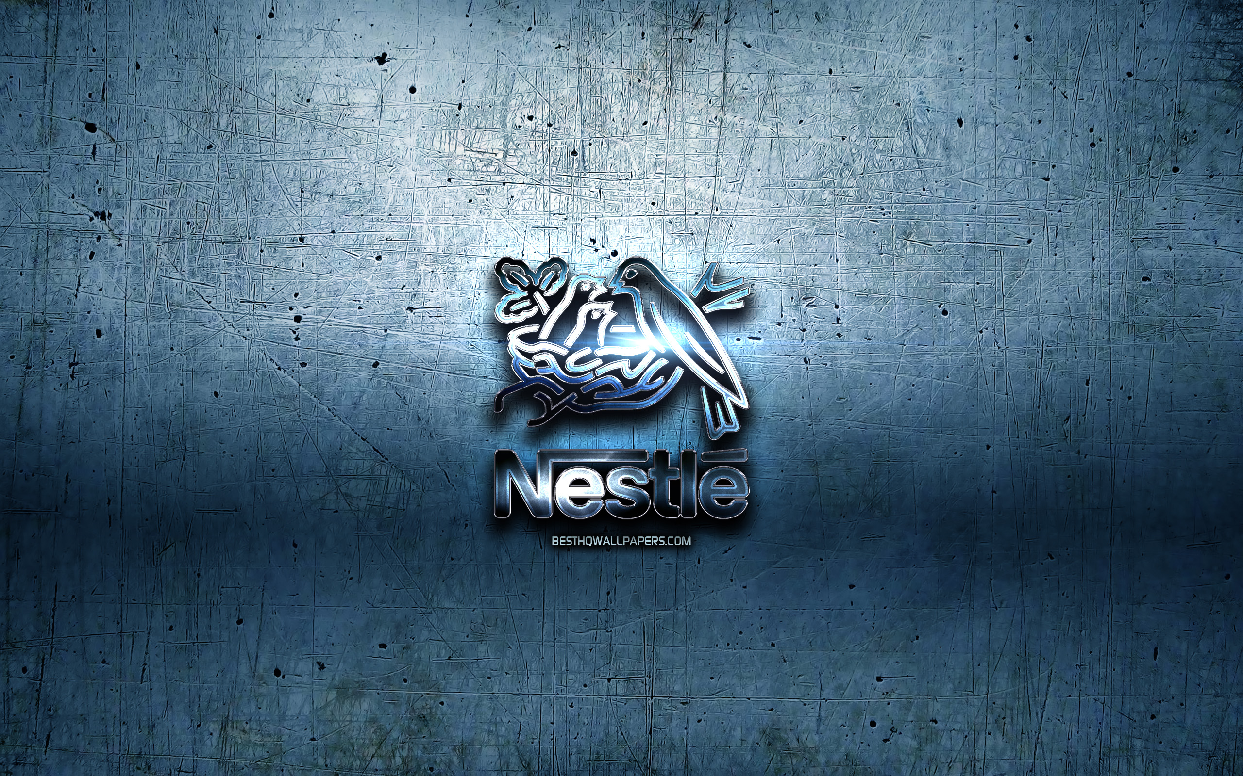 Download wallpapers Nestle metal logo blue metal background 2560x1600