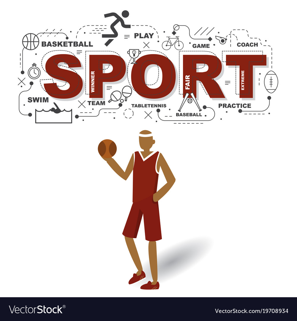 Sportsman with sport icons on white background Vector Image 1000x1080