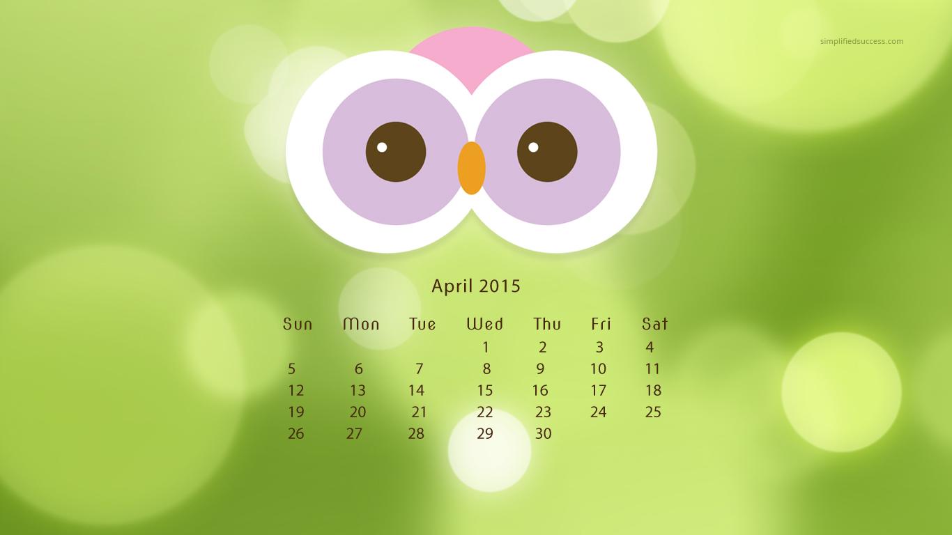 2015 April Calendar Wallpaper 1366x768