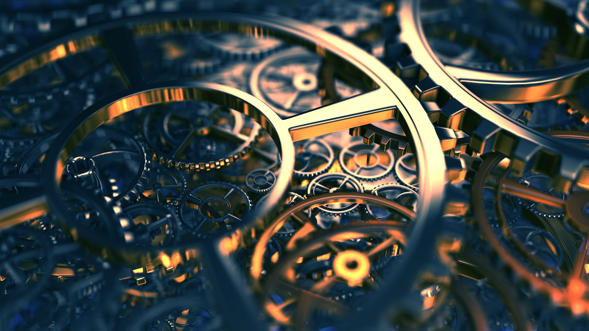 steampunk mechanical gears reflection wallpaper background 1920x1080