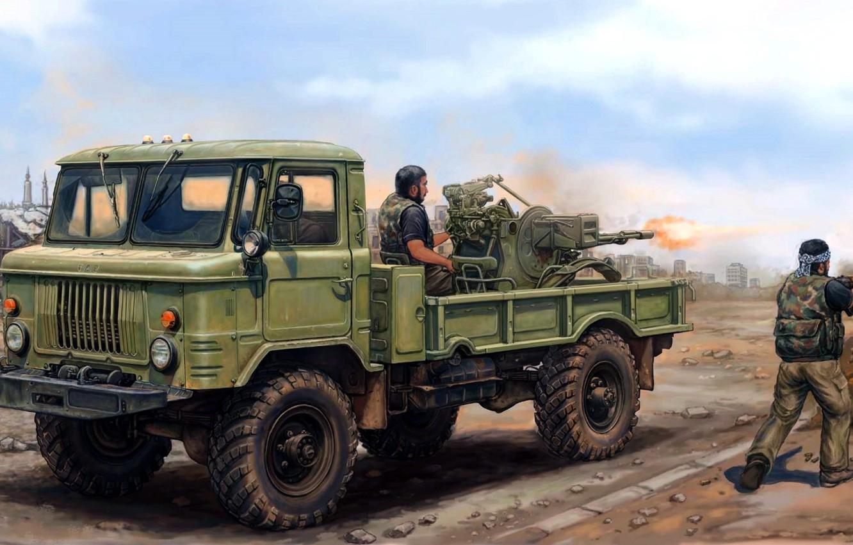 Wallpaper figure Soviet 23 mm twin anti aircraft gun ZU 23 2 1332x850