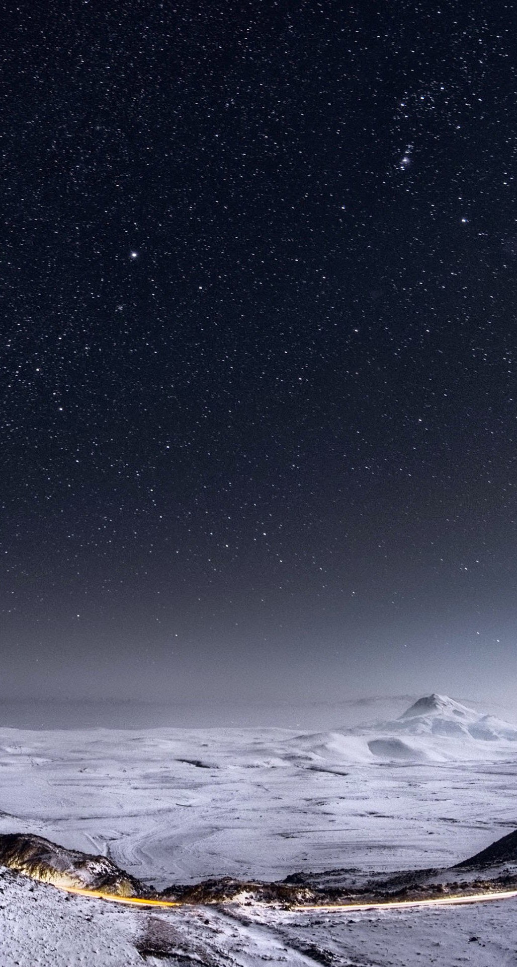 Night Stars Mountain Range Winter Landscape iPhone 6 Plus HD Wallpaper 1028x1920