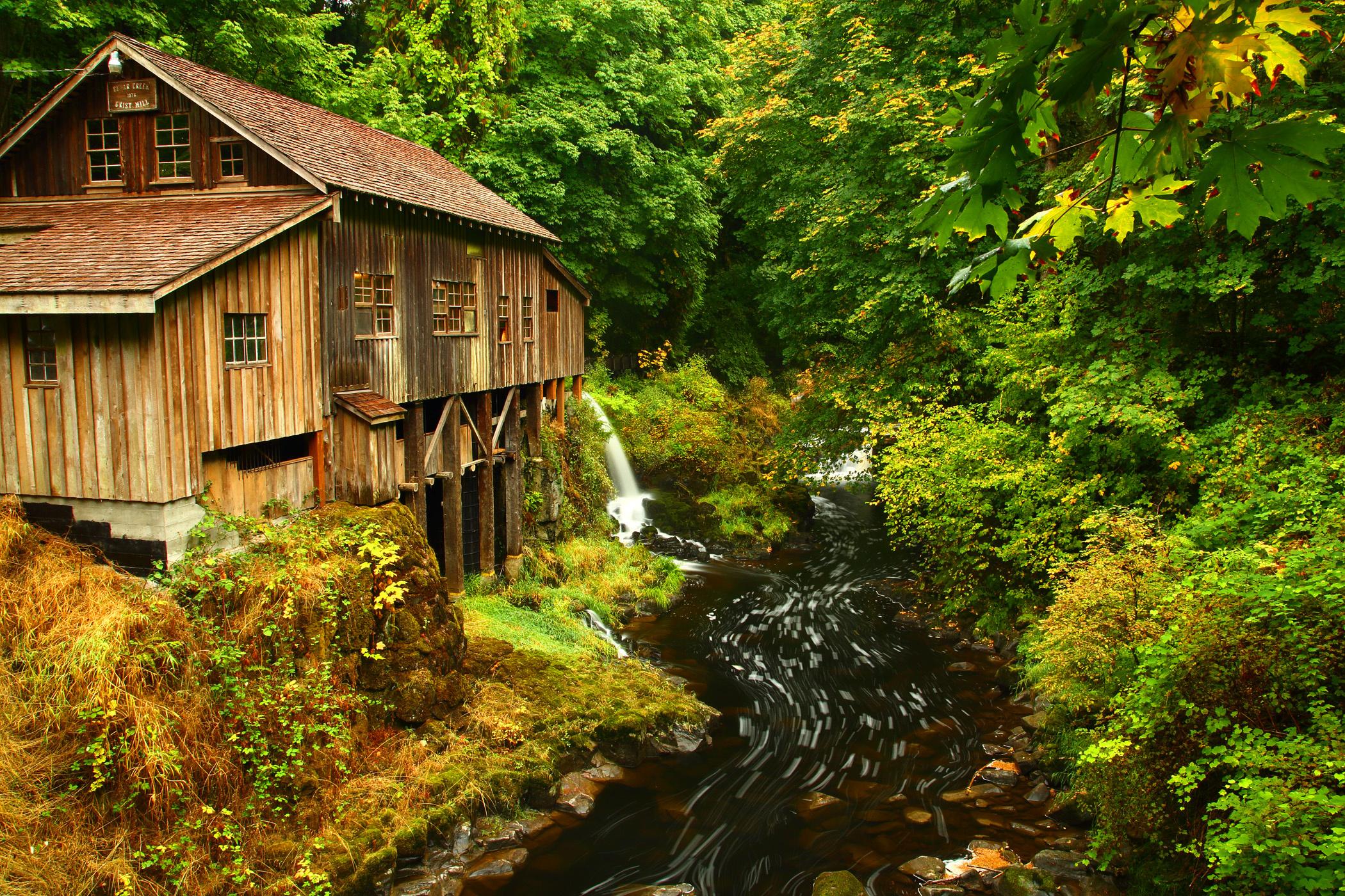 Cedar Creek Grist Mill autumn river stream forest house building fall 2100x1400