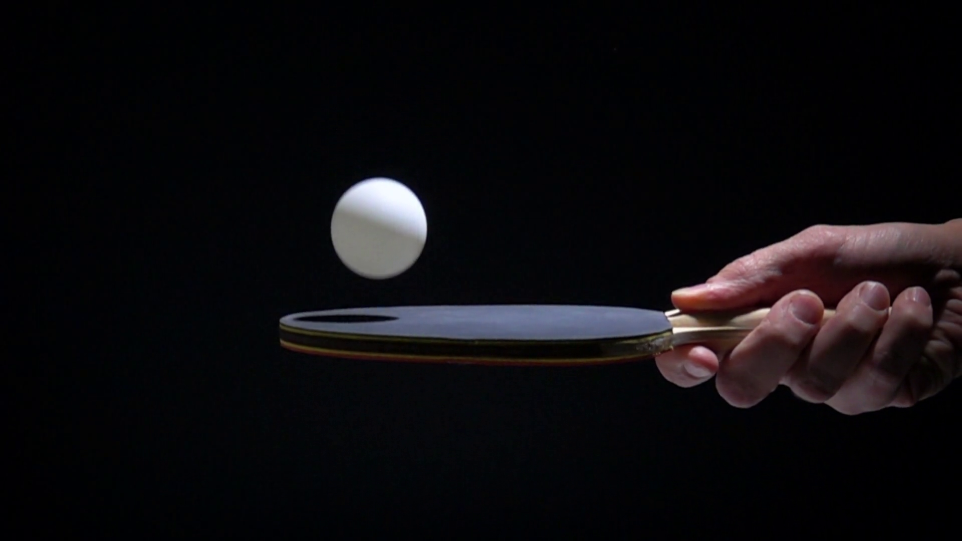 Hand Holding Table Tennis Racket And Bouncing Ping   Darkness 1920x1080