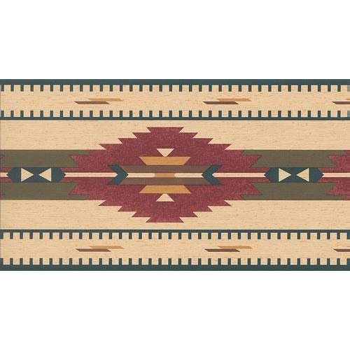 Wallpaper Border Southwest Indian Rug Blue Red Green Gold Brown 500x500