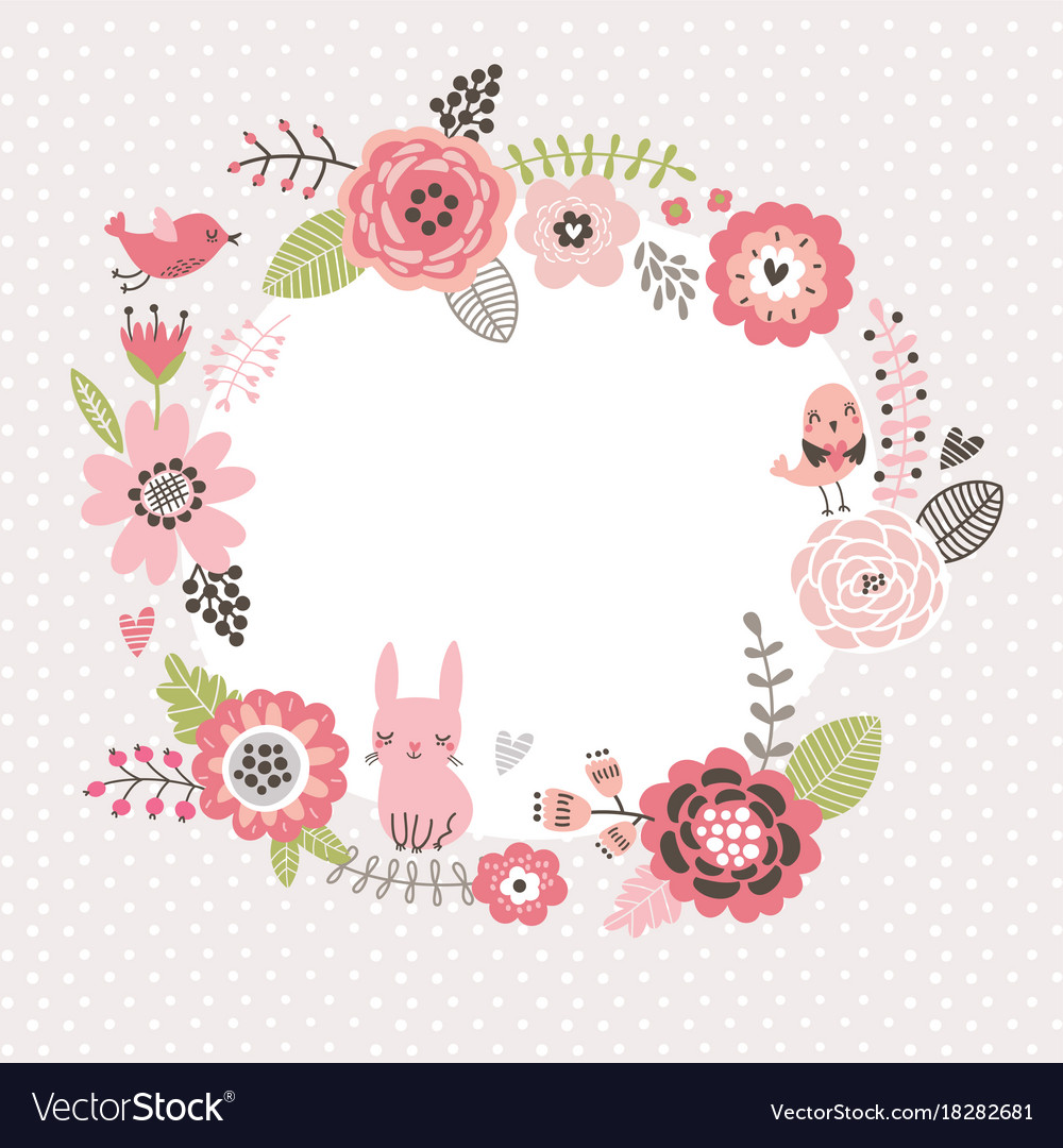 Floral background wreath frame with cute birds an Vector Image 1000x1080