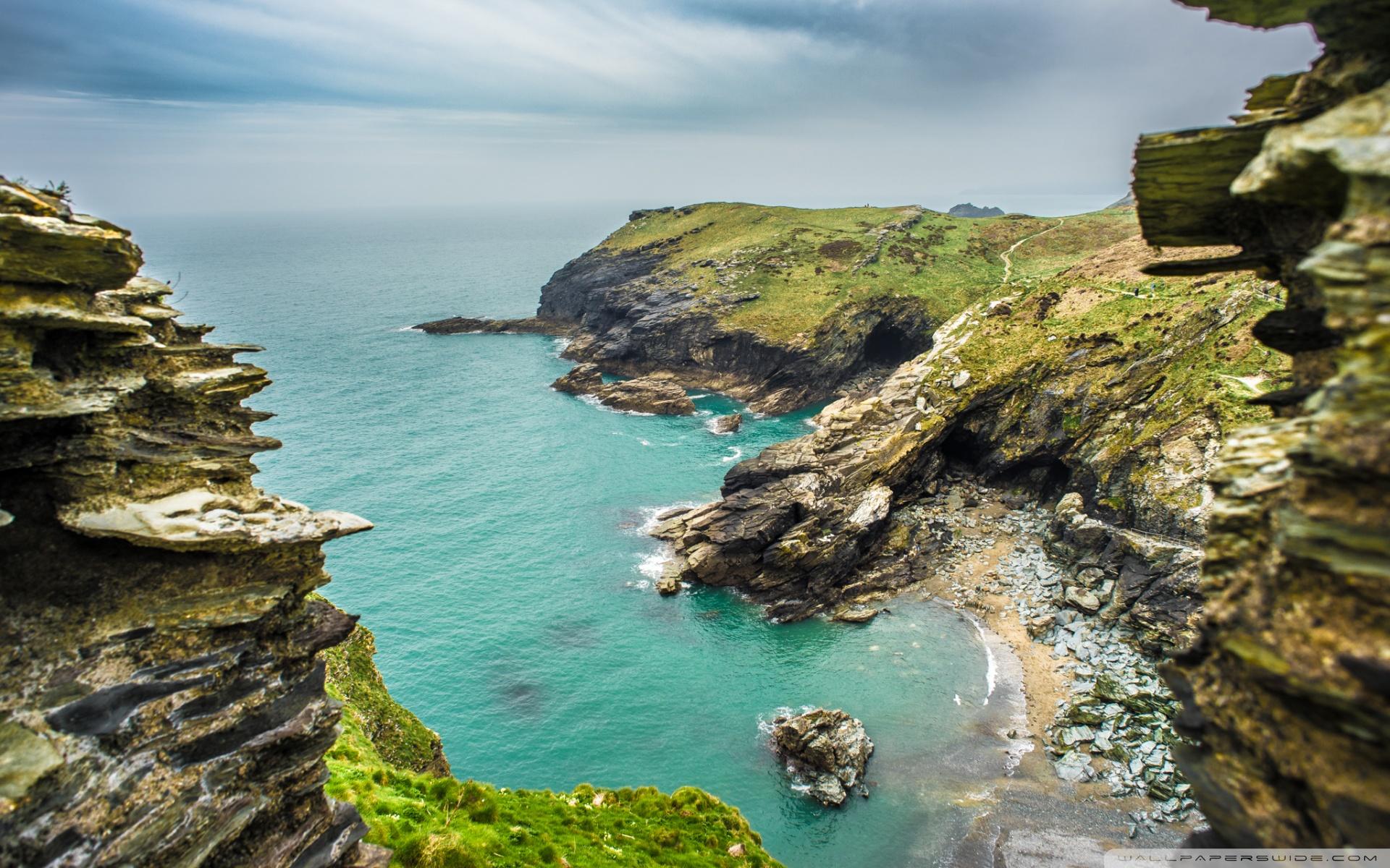 Beach Tintagel castle Cornwall English United Kingdom 4K HD 1920x1200