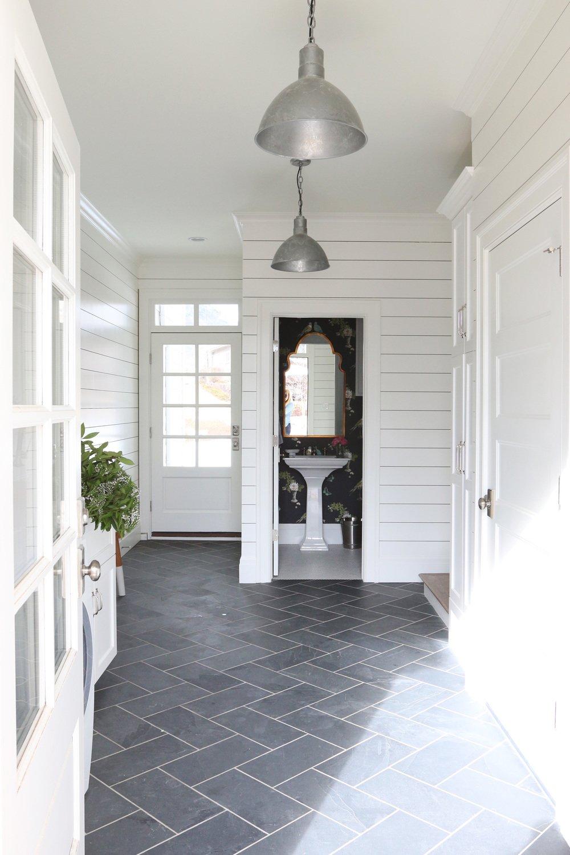 Slate herringbone floors and shiplap walls Studio McGee 1000x1500