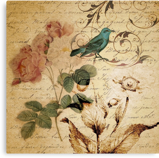 vintage bird roses floral botanical art Canvas Prints by lfang77 550x545