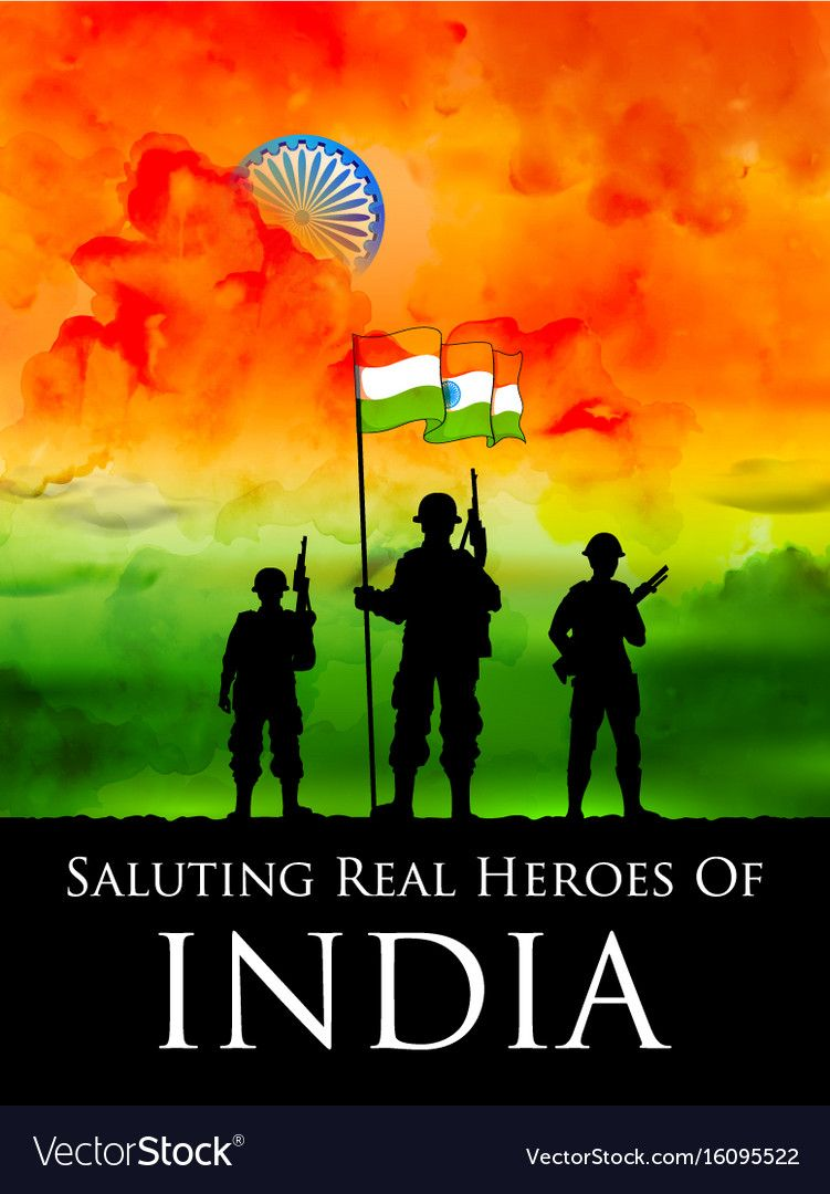Indian soldier standing on tricolor flag of india vector image on 751x1080