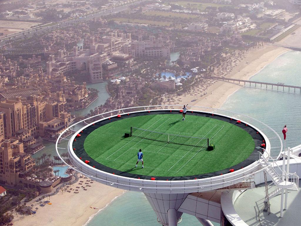 Download Dubai Burj Al Arab highest tennis court Wallpaper in high 1024x768