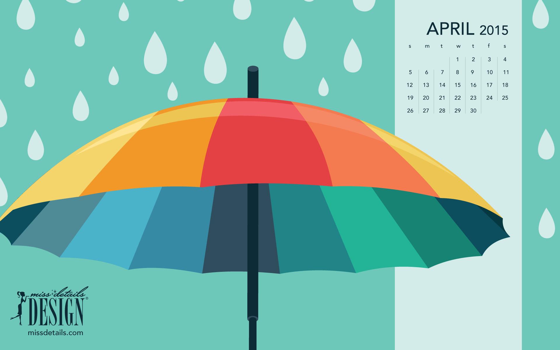 April 2015 desktop calendar from missdetailscom   April Showers 1920x1200