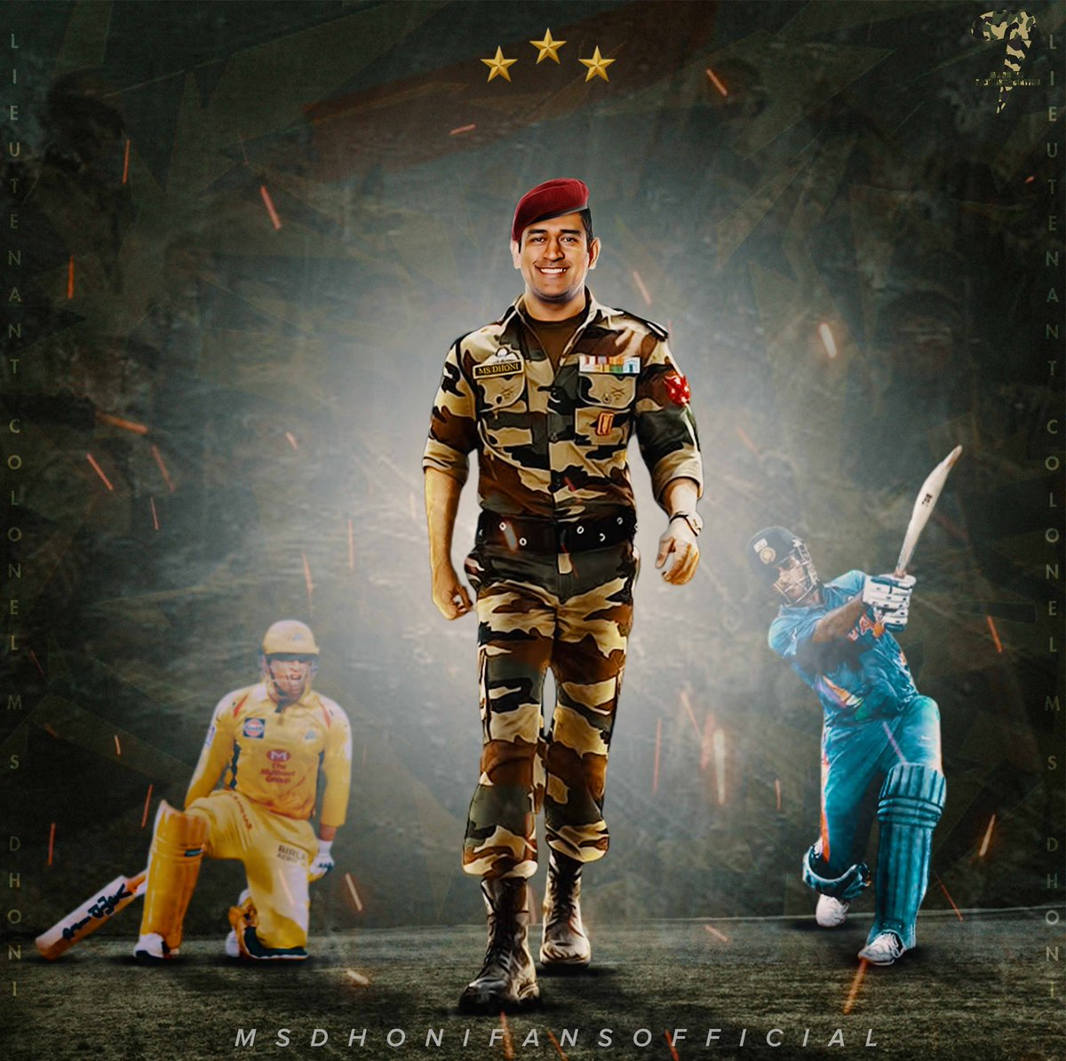 MS Dhoni Fans Official p Twitter The valiant soldier strides 1200x1195