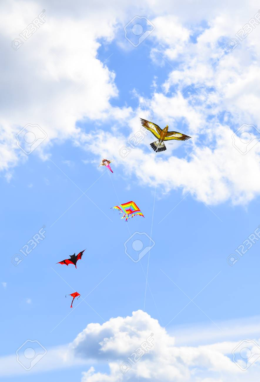 A Lot Of Multi colored Kites In The Sky Vertical Background Stock 885x1300