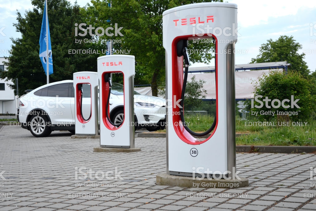 Ellwangen Germany May 15 2018 Tesla Supercharger Stations In A Row 1024x686