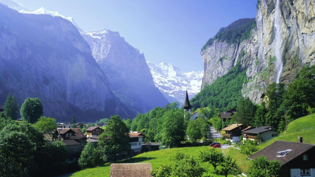 hd Flower wallpapers Lauterbrunnen and Staubbach Falls Jungfrau 1280x720