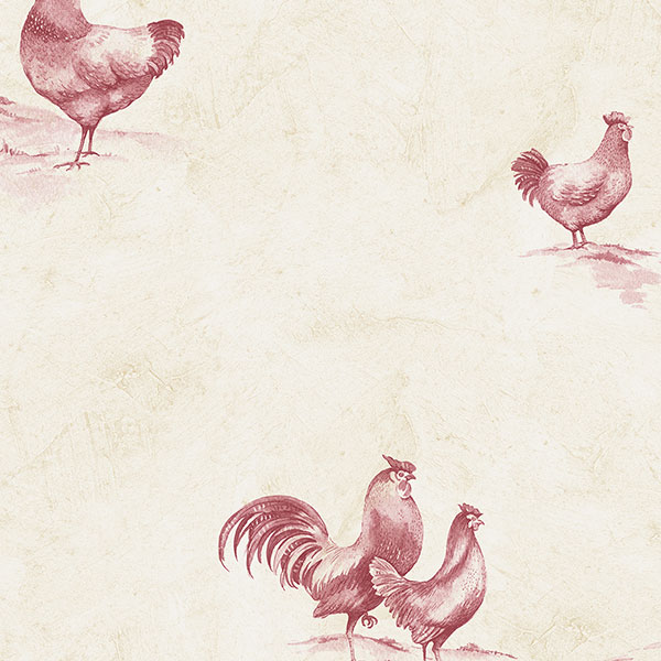 Beige and Burgundy Rooster Wallpaper KE29931   Wallpaper Border 600x600