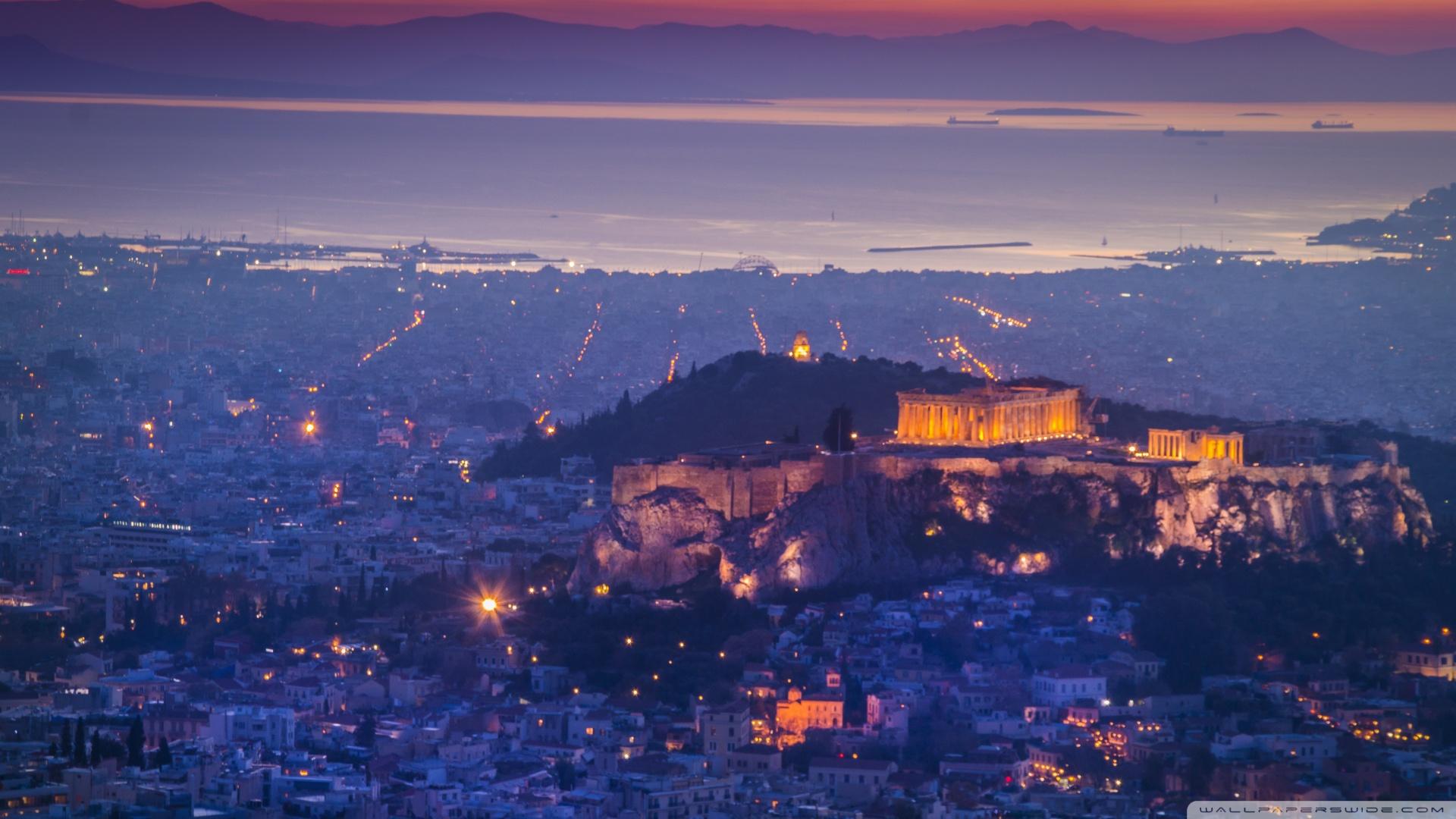 Athens by night 4K HD Desktop Wallpaper for 4K Ultra HD TV 1920x1080
