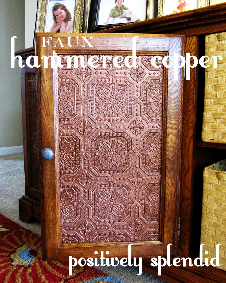 Faux Hammered Copper Tutorial   Paintable wallpaper and metallic spray 736x921