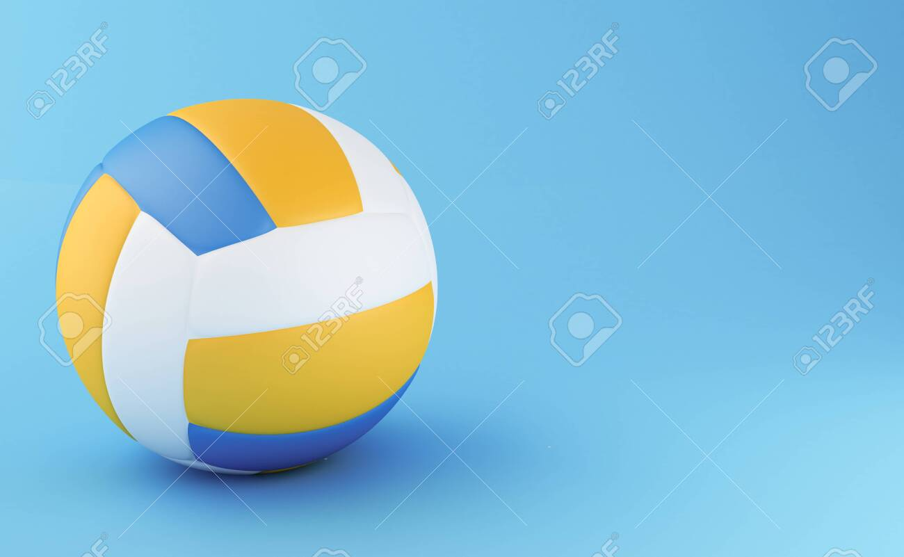 3d Illustration Volley Ball On Light Blue Background Sports 1300x801