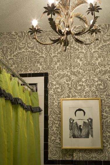 Oooooh fun wallpaper and shower curtain Bathrooms Vanity Design 377x567