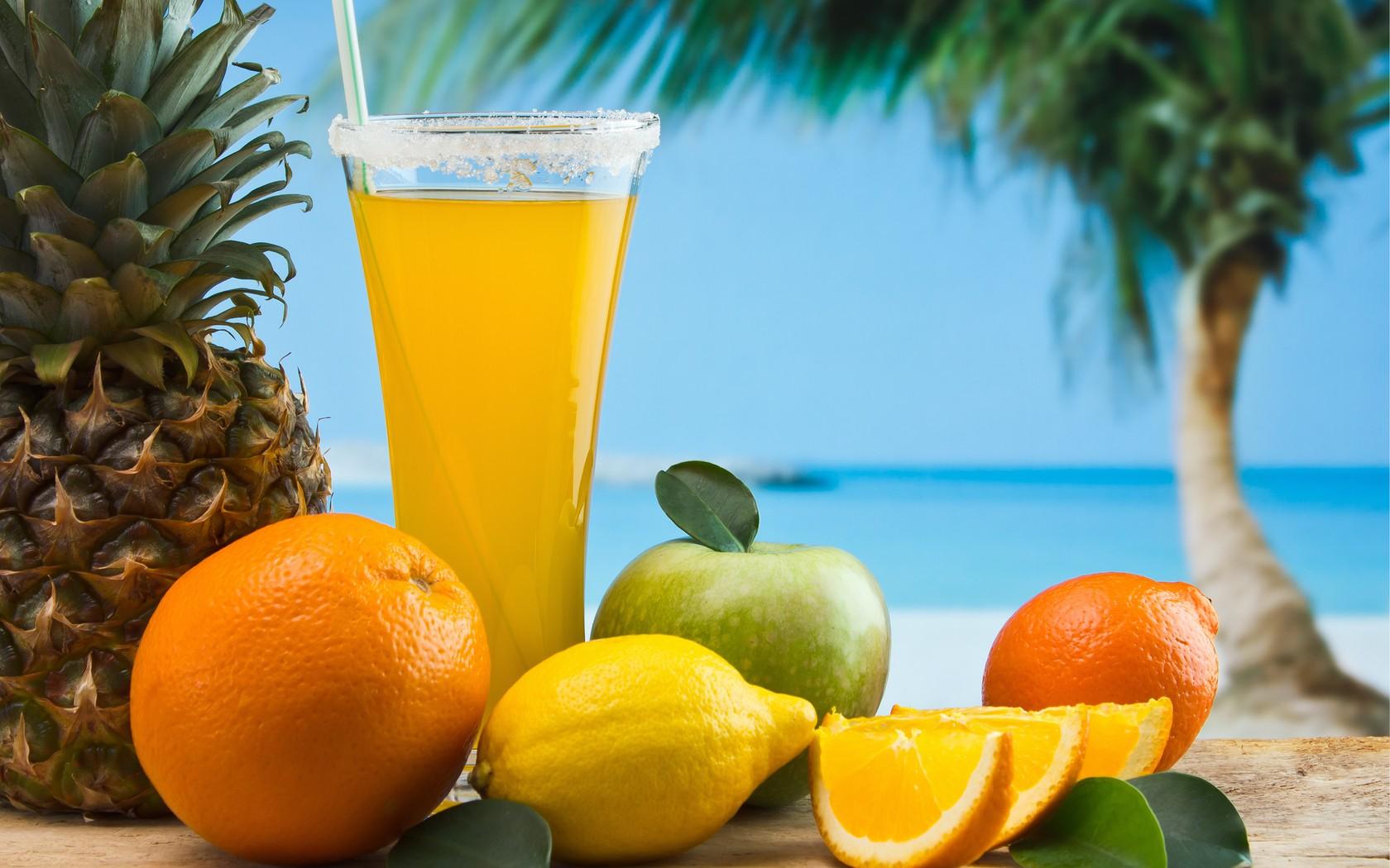 Orange Juice And Fruits Fresh Wallpaper HD Wallpaper WallpaperLepi 1680x1050