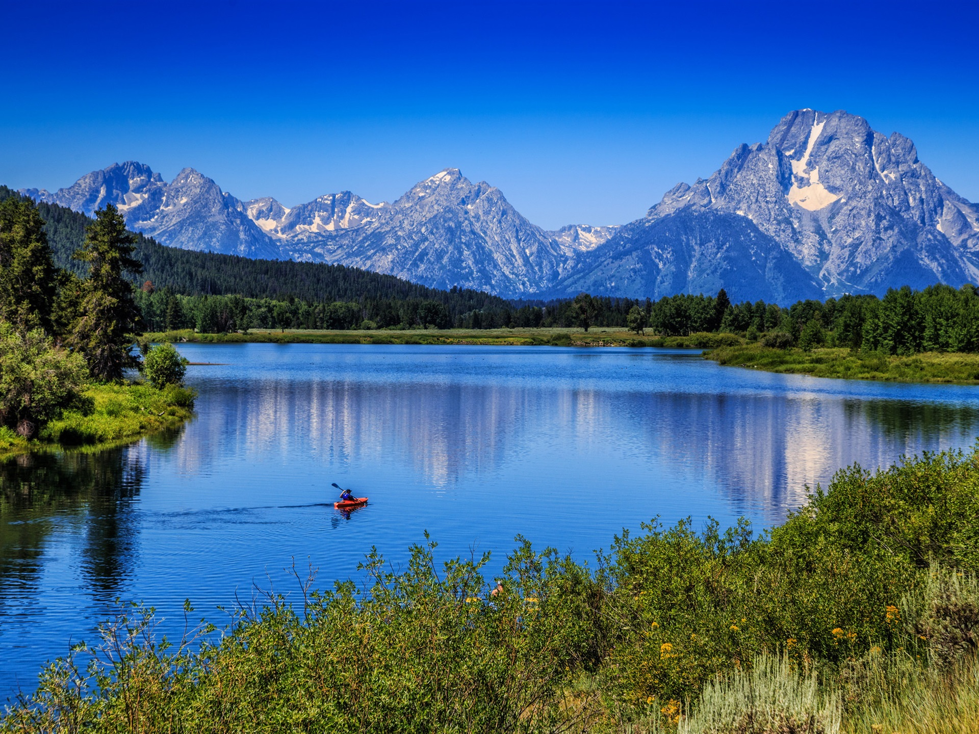 Wallpaper Mountains trees blue sky river boat 1920x1440 HD 1920x1440