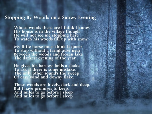poem Stopping by woods on a snowy evening By Robert Frost 600x450