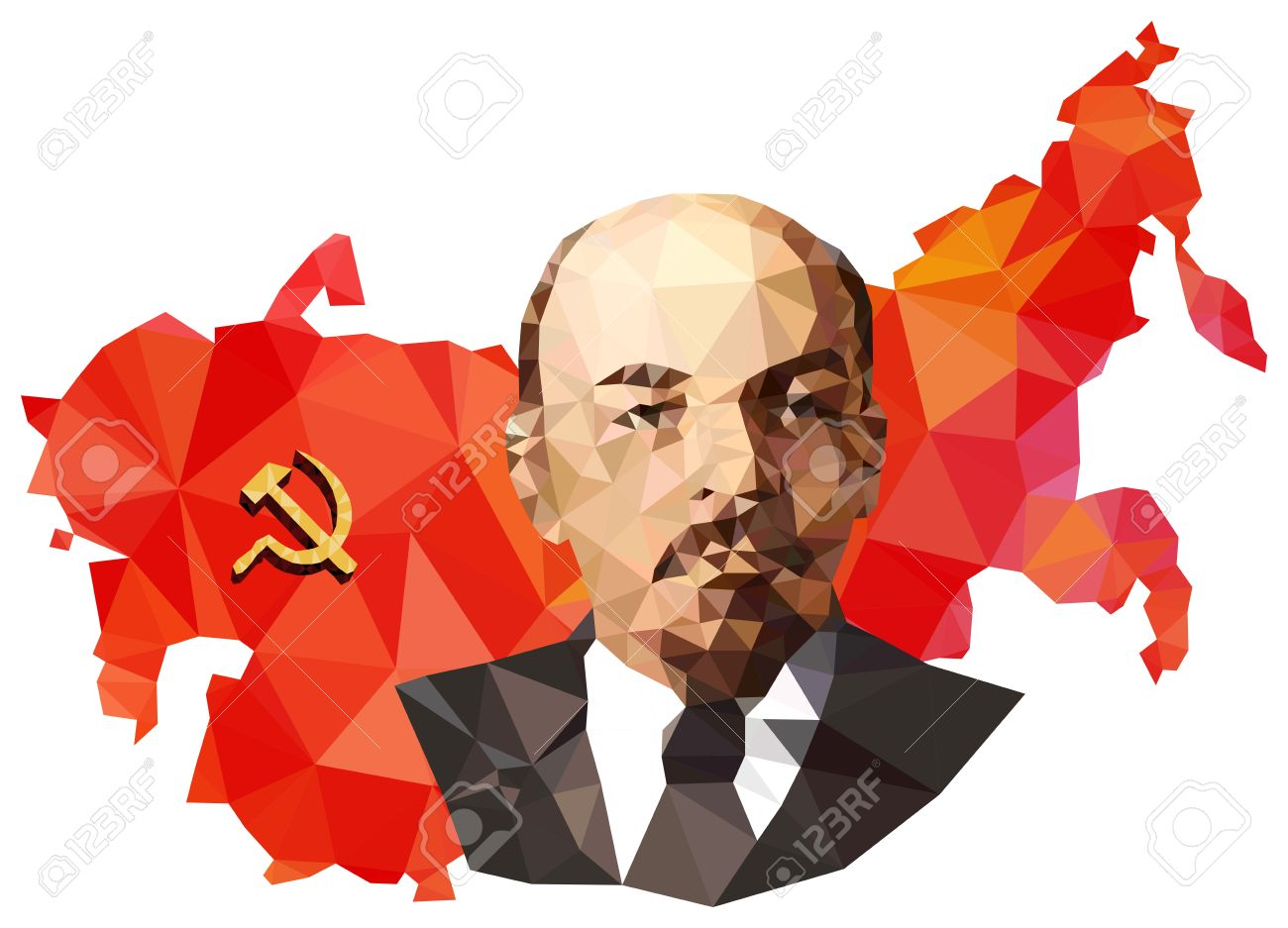 Soviet Union USSR Map With Flag Portrait Of Lenin Isolated 1300x937