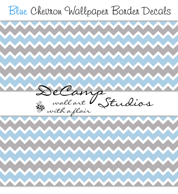 Blue Grey Chevron Wallpaper Wall Border Decals Baby Boy Stickers 600x652