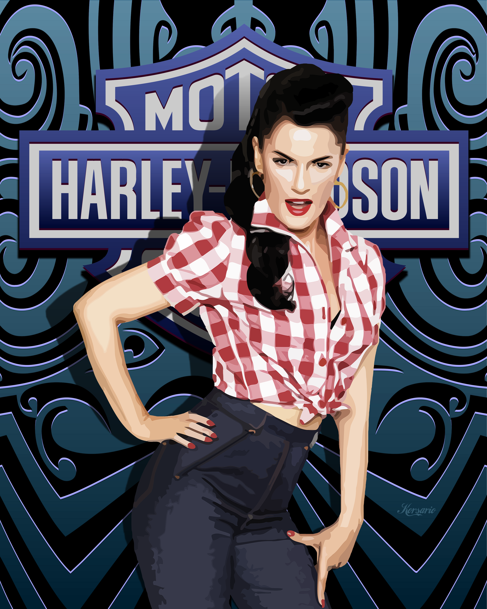 Harley davidson pin up wallpaper wallpapersafari harley davidson pin up by ivankorsario 1600x2000 freerunsca Images