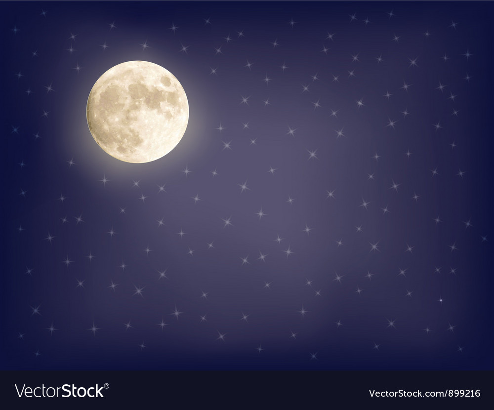 Background with full moon Royalty Vector Image 1000x830