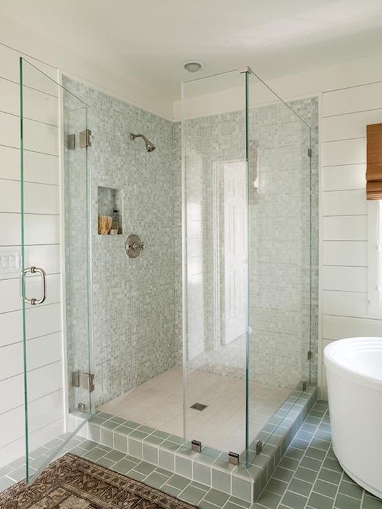 Blue Gray Shower Tiles   Cottage   bathroom   Lauren Liess Interiors 555x740