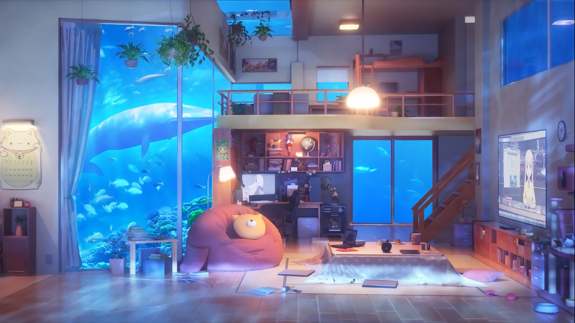 Anime Living Room Underwater HD Wallpaper Background Image 1920x1080
