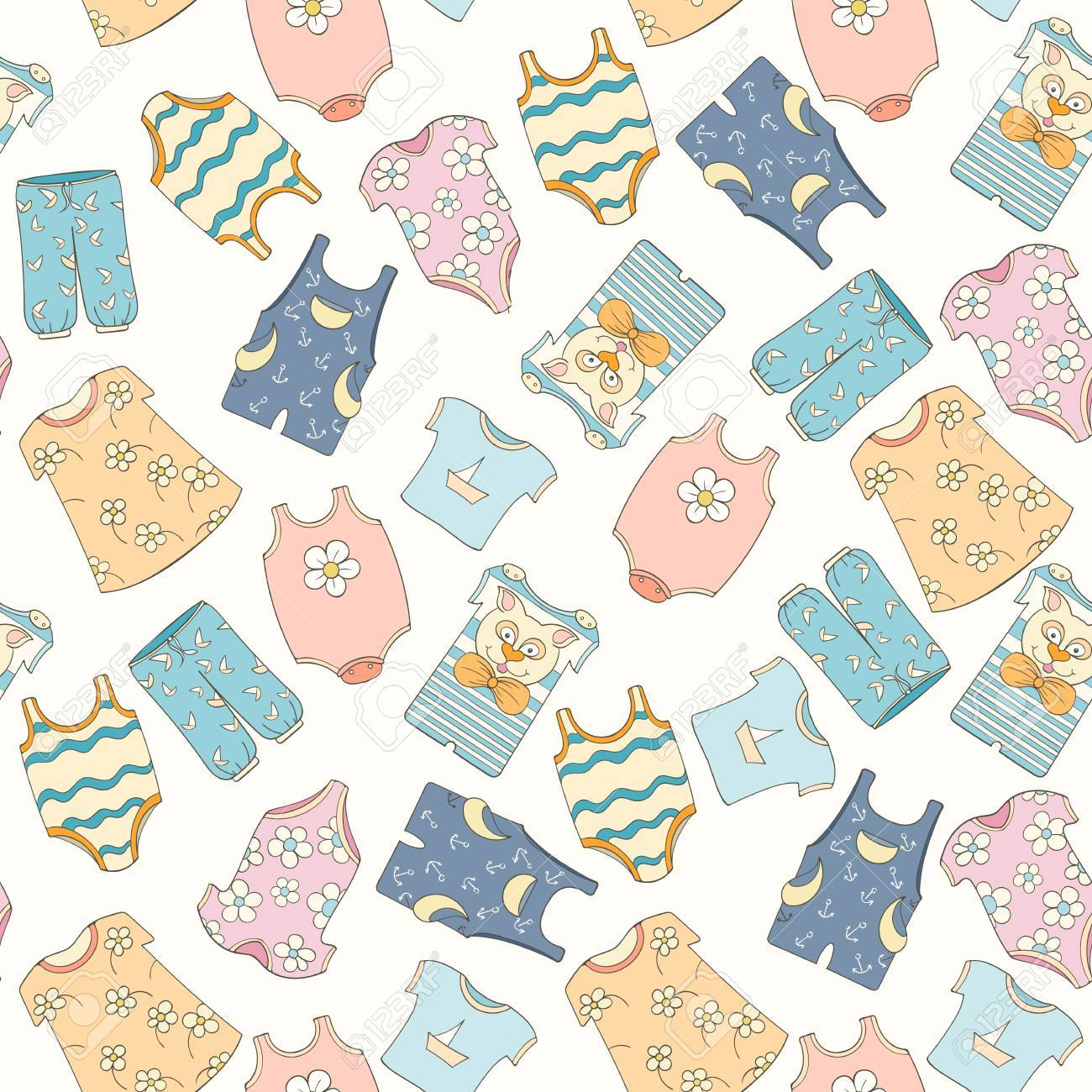 Hand drawn Seamless Pattern Of Children Clothes Vector 1300x1300