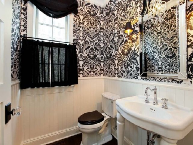 Black and white bathroom wallpaper Bathroom Design Ideas And More 642x482