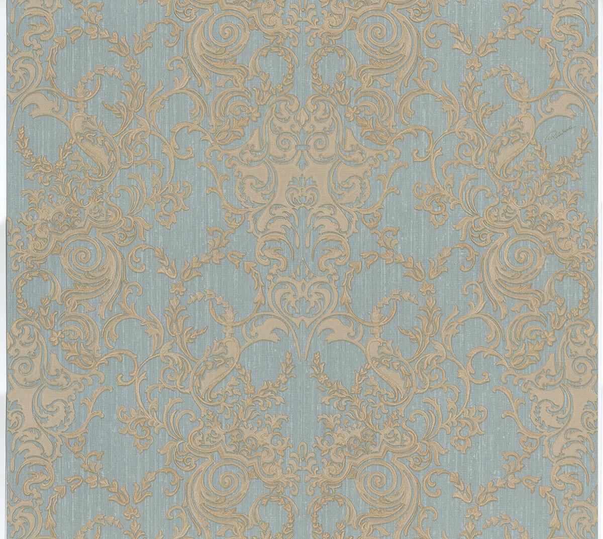Roberto Cavalli Barocco RC15024 Wallpaper BlueGold Fashion 1200x1073