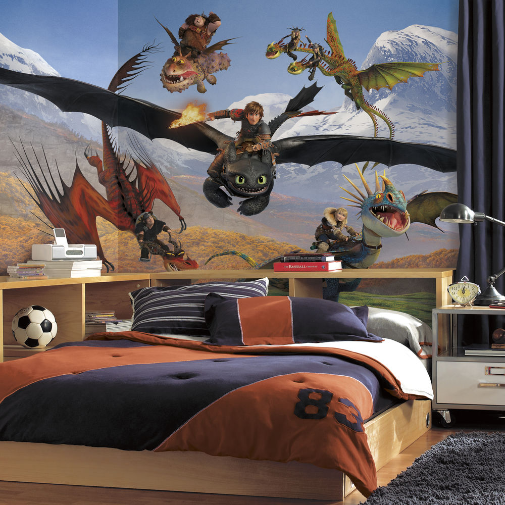 New XL HOW TO TRAIN YOUR DRAGON PREPASTED WALLPAPER MURAL Boys Room 1000x1000
