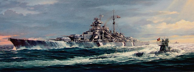 The battleship Bismarck Germany 640x240