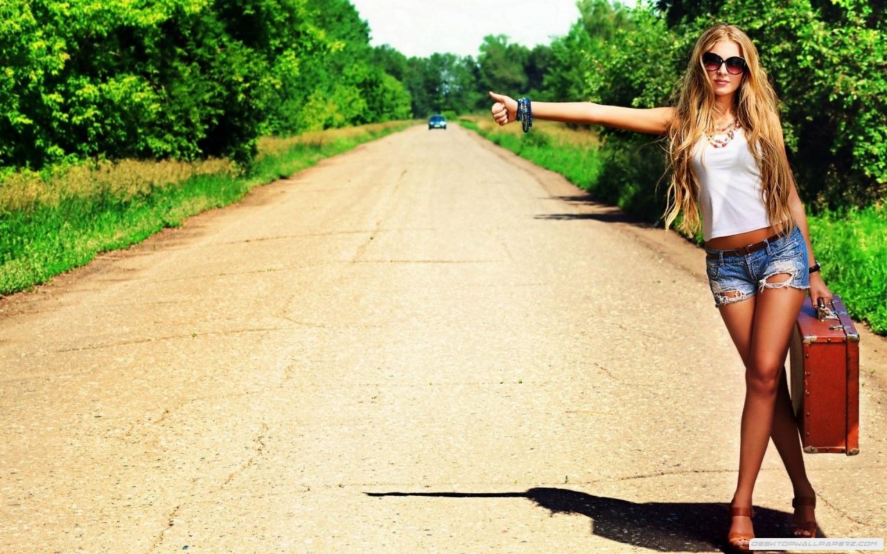 Long Leg Girl Short Shorts Hitchhiking Asking For A Lift 1280x800