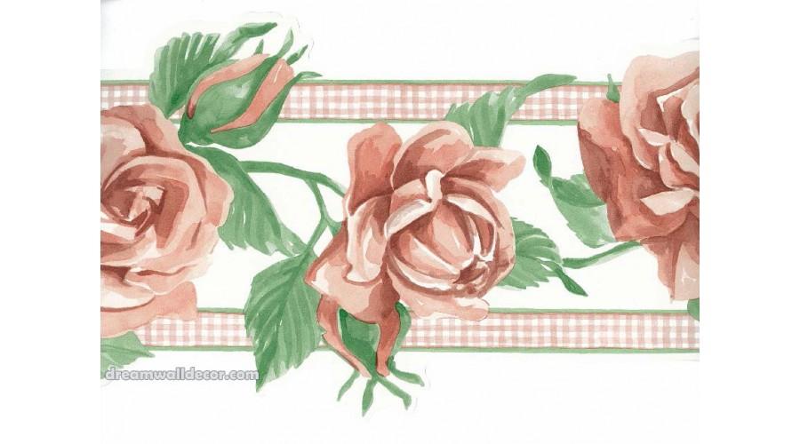 Home Orange Rose Green Leaf Wallpaper Border 900x500
