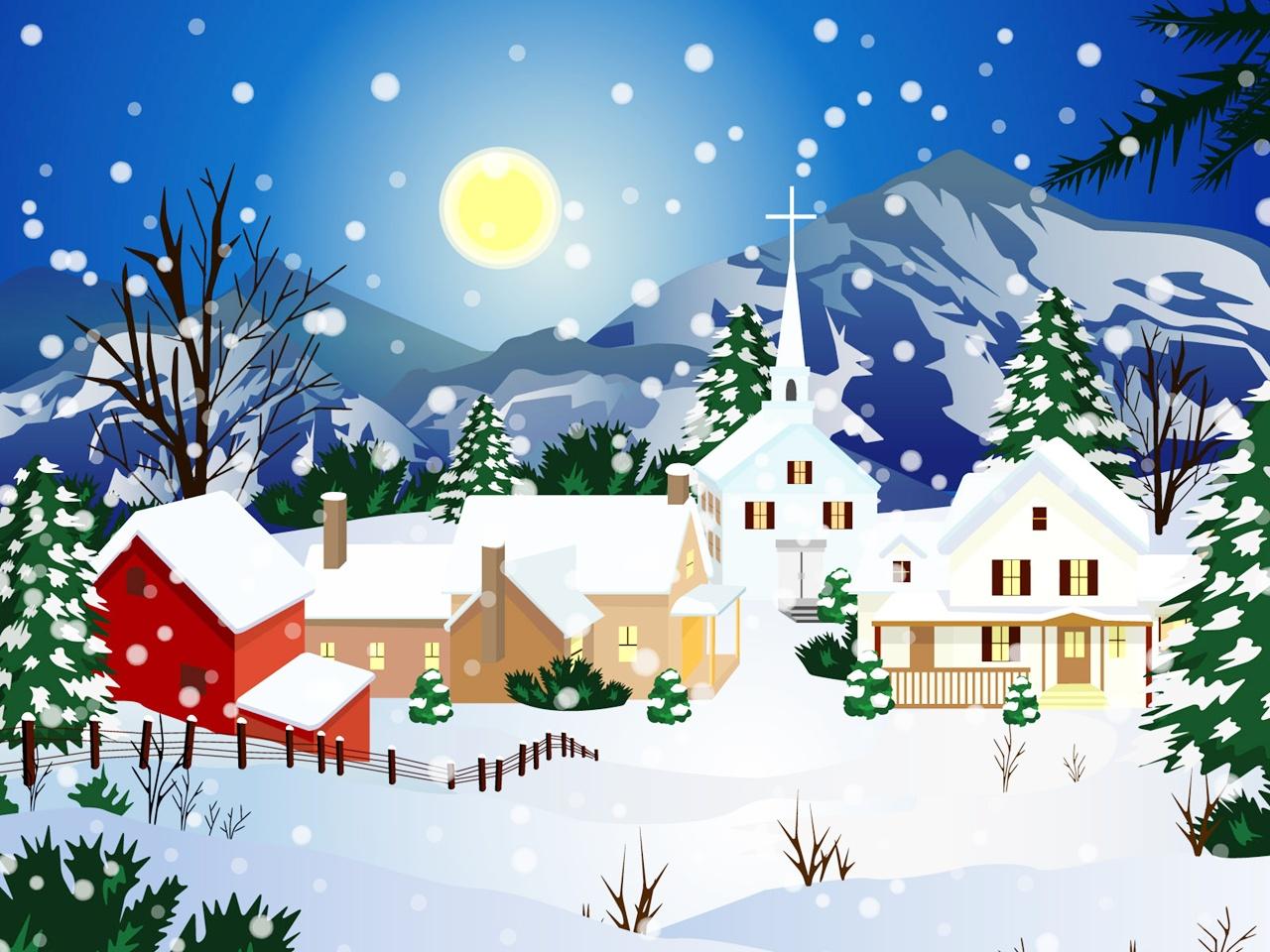 christmas snow wallpaper scenes wallpapersafari