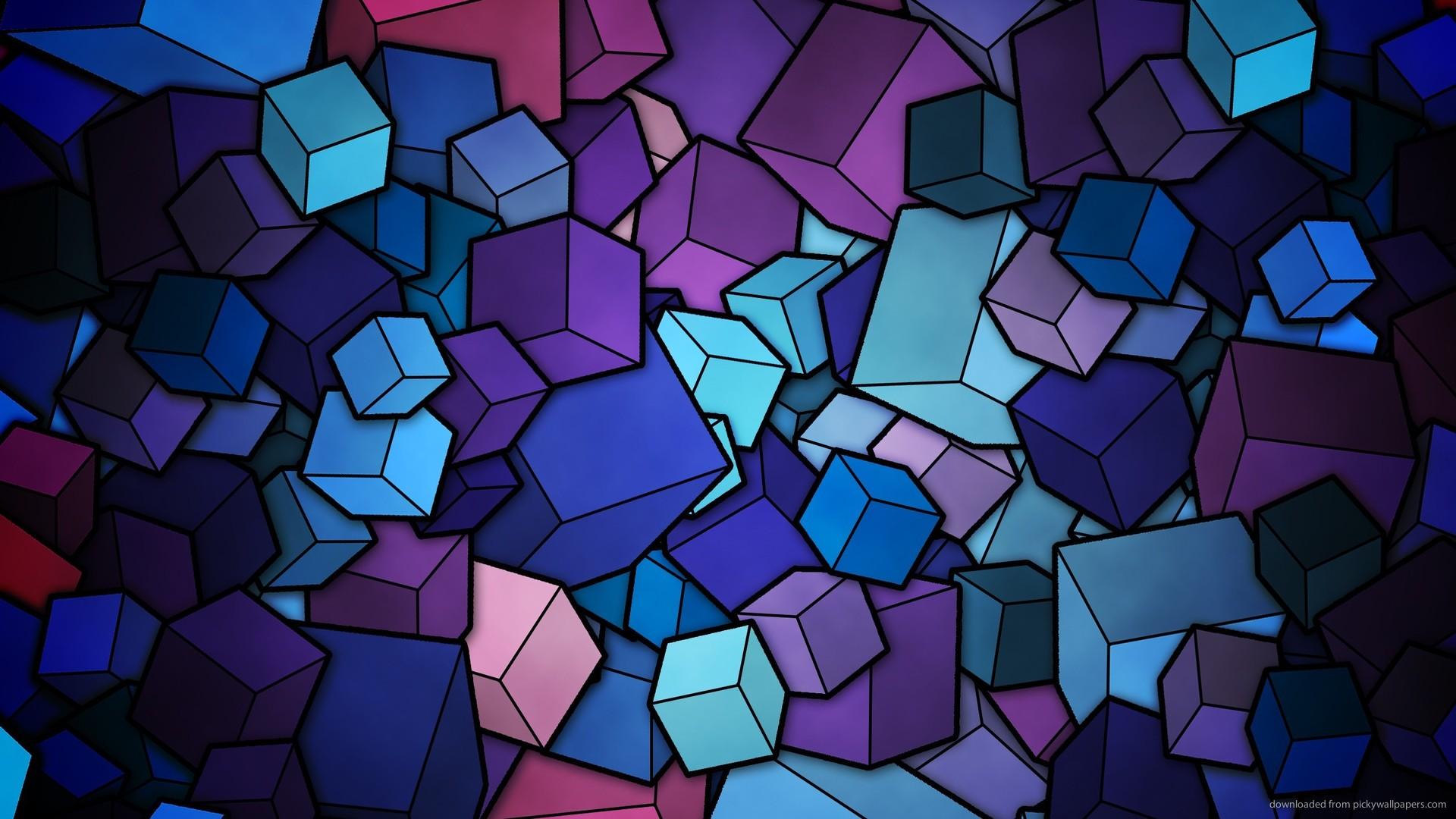 wallpaper blue cubes abstract 1920x1080 1920x1080