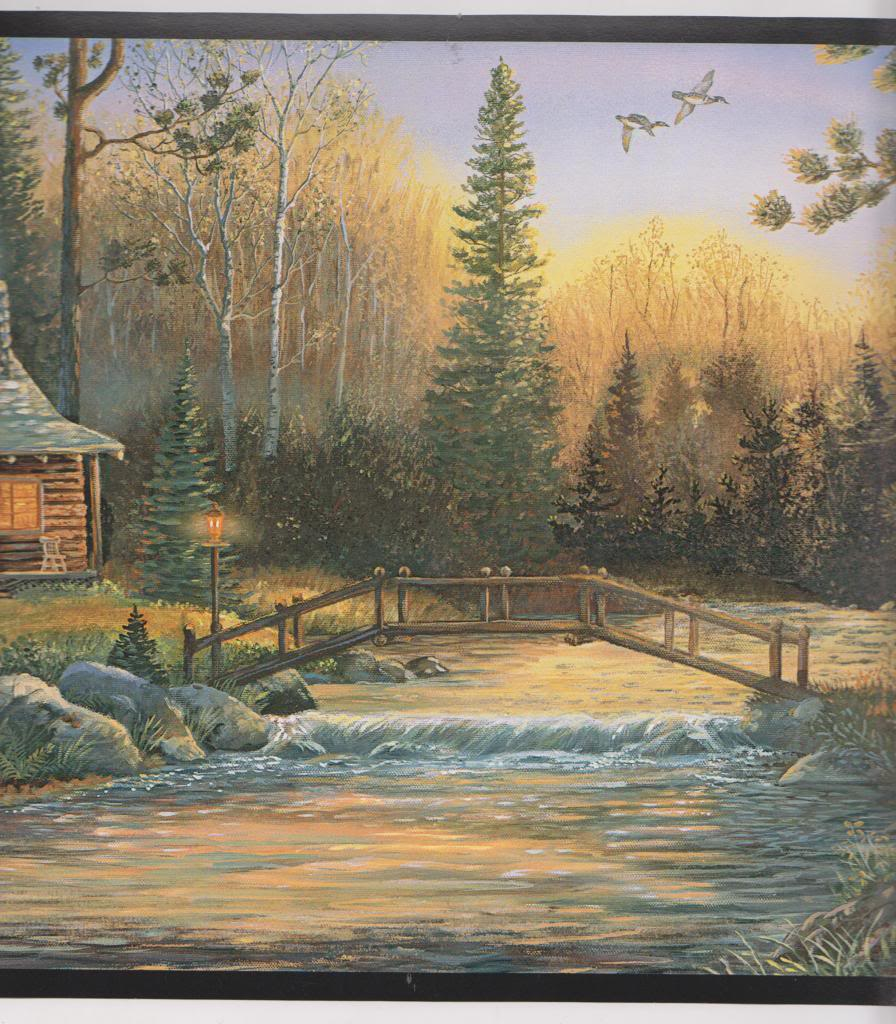CH7842BD Lodge Wallpaper Border Cabin in the Woods Wall Border Black 896x1024