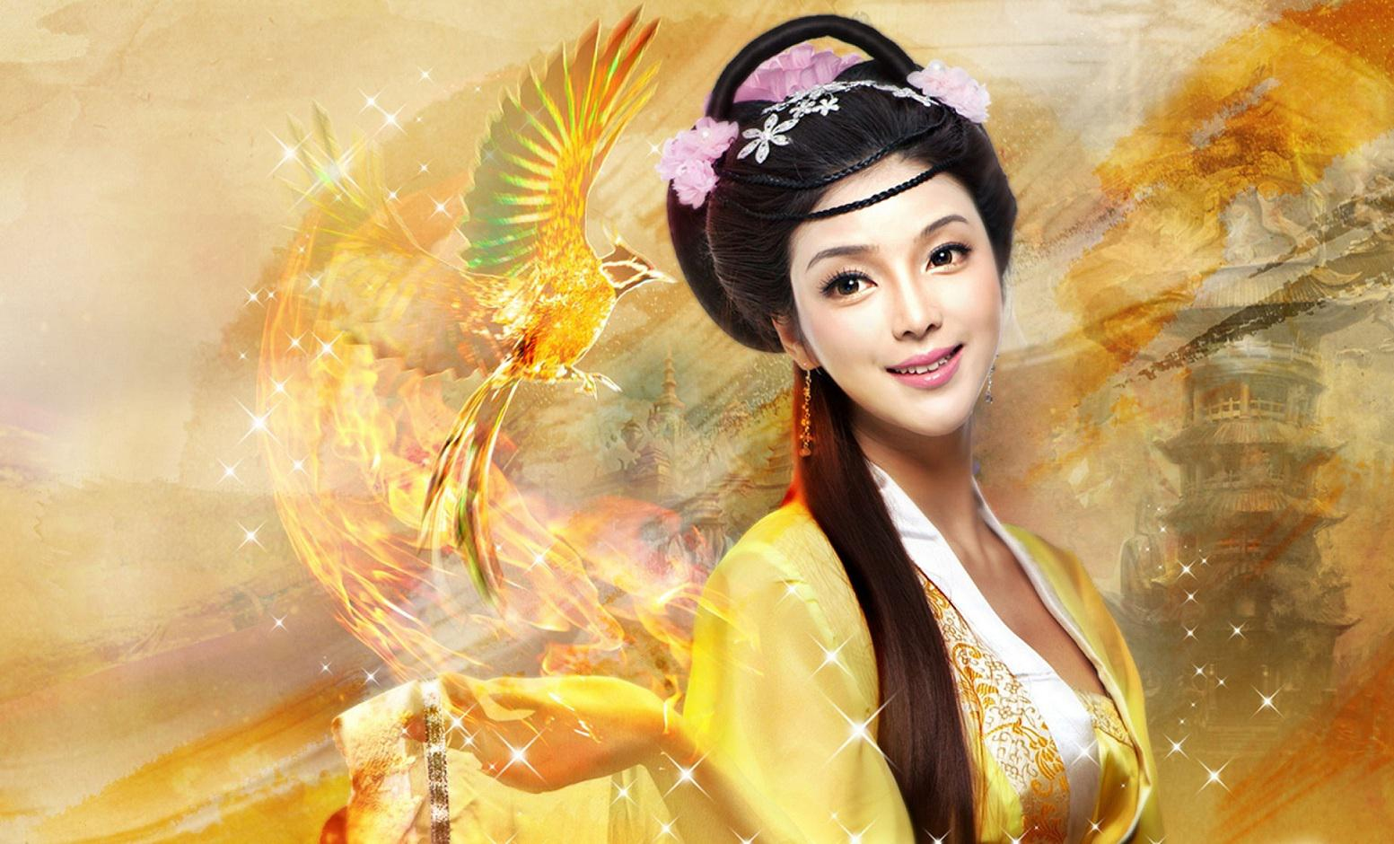 Geisha and phoenix   93895   High Quality and Resolution Wallpapers 1553x940